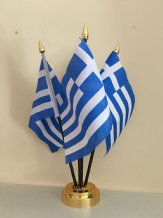 GREECE - TABLE FLAG SET - 4 FLAGS